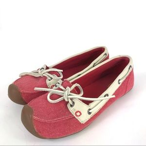 KEEN Catalina Red Canvas Boat Shoes 8.5